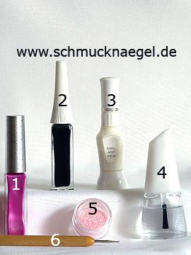 Produkte für das Motiv 'Blume mit Glitter-Pulver und Nagellack' - Nailart Liner, Nailart Pen, Glitter-Pulver, Spot-Swirl