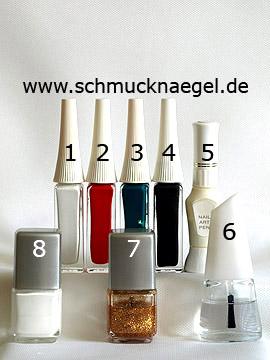 Produkte für das Pilz Motiv für den Herbst mit Nagellack - Nagellack, Nailart Liner, Nailart Pen