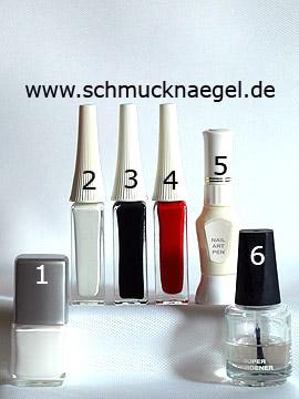 Produkte für das Schneemann Wintermotiv als Fingernagel Dekoration - Nagellack, Nailart Liner, Nailart Pen