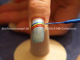 Nailart Liner in den Farben rot, orange, pink, gelb und blau