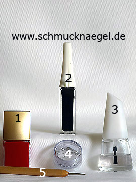 Produkte für das French Ornament Motiv für die Fingernägel - Nagellack, Nailart Liner, Strasssteine, Spot-Swirl