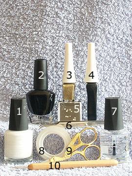 Produkte für das Party Motiv in schwarz weiß - Nagellack, Strasssteine, Nailart Liner, Spot-Swirl, Klarlack