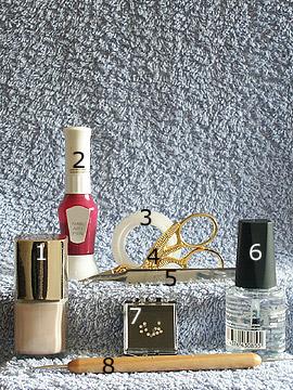Produkte für das Sommer Motiv in hellbeige - Nagellack, Strasssteine, Nailart Pen, Spot-Swirl, Klarlack