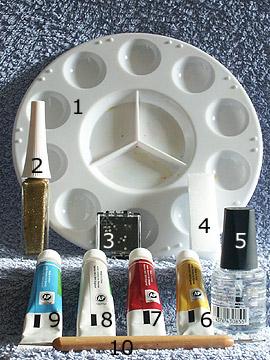 Produkte für das French mit Acrylfarben - Acrylfarben, Strasssteine, Nailart Liner, Spot-Swirl, Klarlack