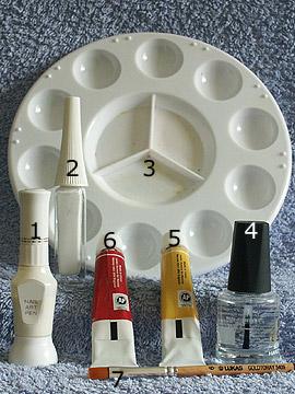 Produkte für das Motiv Blütenblätter mit Acrylfarben - Acrylfarben, Nailart Liner, Nailart Pen, Klarlack