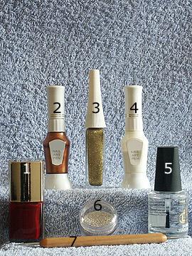 Produkte für das Herbst Fullcover Motiv - Nagellack, Nailart Bouillons, Nailart Liner, Nailart Pen, Spot-Swirl, Klarlack