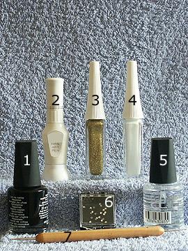 Produkte für das Motiv Fullcover Nailart - Nagellack, Strasssteine, Nailart Liner, Nailart Pen, Spot-Swirl, Klarlack