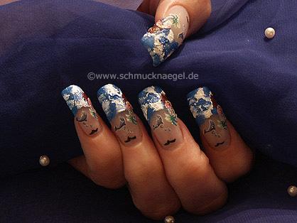 3D Nail Sticker und Acrylfarben