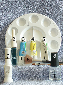 Produkte für das Blumenmotiv - Acrylfarben, Nailart Pen, Nailart Liner, Klarlack
