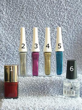 Produkte für das Bunte Glitter Motiv - Nagellack, Nailart Liner, Klarlack