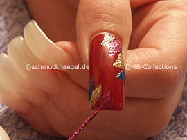 Nailart Liner in den Farben lila-glitter und silber-glitter