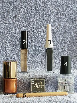 Produkte für das French Motiv in braun und gold - Nagellack, Nailart Liner, Strasssteine, Spot-Swirl, Klarlack