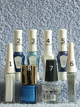 Produkte für das French Motiv für die Fingernägel - Nagellack, Nailart Liner, Nailart Pen, Klarlack