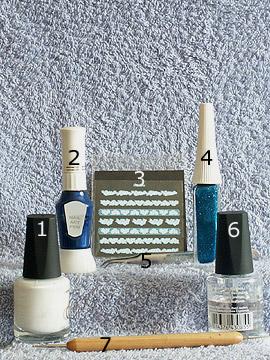 Produkte für das Nailart mit Nail Sticker und Nagellack - Nagellack, Nailart Liner, Nailart Pen, Nail Sticker, Spot-Swirl, Klarlack