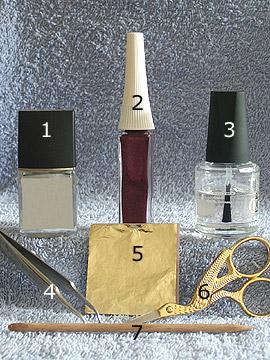 Produkte für das perlmutt gold Design - Nagellack, Blattgold, Nailart Liner, Klarlack