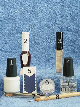 Produkte für das Nailart Motiv für Nagelmodellage - French Maniküre Schablonen, Nagellack, Nailart Liner, Nailart Pen, Strasssteine, Spot-Swirl, Klarlack