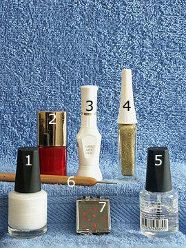 Produkte für das Motiv Weihnachtsmütze als Nageldesign - Nagellack, Nailart Pen, Nailart Liner, Klarlack, Spot-Swirl, Strasssteine