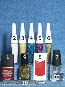 Produkte für das Silvester Nailart Motiv für Fingernägel - Nagellack, Nailart Liner, Klarlack, French Maniküre Schablonen