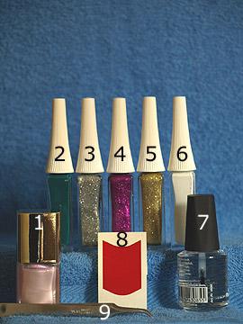 Produkte für das Nailart Tannenzweig als Weihnachtsmotiv - Nagellack, Nailart Liner, Klarlack, French Maniküre Schablonen