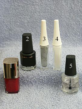 Productos para motivo de uñas decoradas - Esmalte, Nail art liner, Esmalte transparente