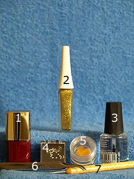 Productos para motivo máscara de carnaval para uñas - Esmalte, Nail art liner, Esmalte transparente, Spot-Swirl, Piedras strass, Plumas