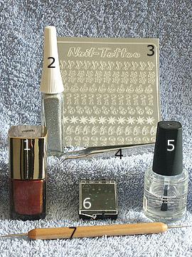 Productos para decoración estilo cobre - Esmalte, Nail-Tattoos, Nail art liner, Piedras strass, Spot-Swirl, Pinzeta, Esmalte transparente