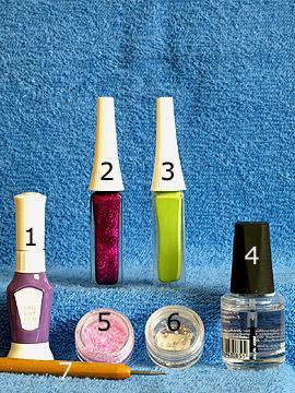 Productos para motivo 'Astillas de concha del mar para uñas decoradas' - Nail art pen, Nail art liner, Astillas de concha del mar, Piedras strass, Spot-Swirl, Esmalte transparente