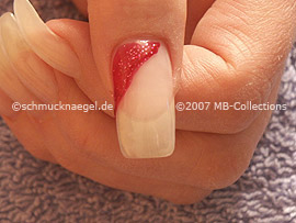 Esmalte de color rojo-glitter