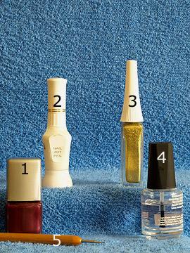 Productos para uñas decoradas con acentos en oro - Esmalte, Nail art liner, Nail art pen, Spot-Swirl, Esmalte transparente