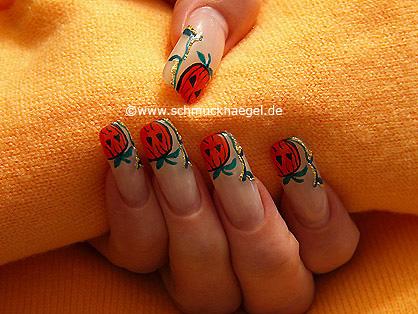 Halloween calabaza en uñas decoradas