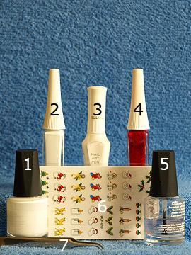 Productos para motivo de uñas con rama de muérdago - Esmalte, Nail art liner, Nail art pen, Nail sticker navidad, Esmalte transparente