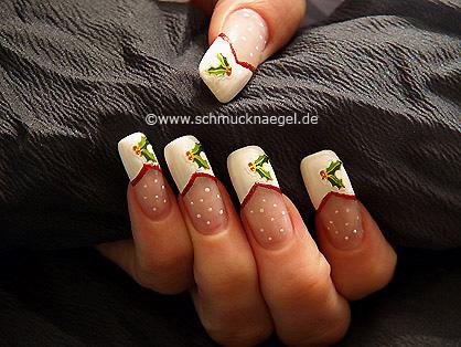 Motivo de uñas con rama de muérdago