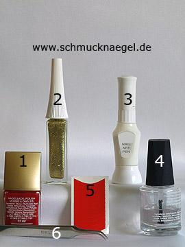 Productos para motivo 'Manicura francesa con esmalte en rojo' - Esmalte, Nail art liner, Nail art pen, Plantillas manicura francesa