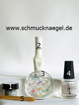 Productos para motivo con perlas medias y polvo en plata - Polvo, Nail art pen, Perlas medias, Spot-Swirl