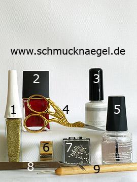 Productos para motivo con hoja metálica en oro y piedras strass - Esmalte, Nail art liner, Pegamento hoja metálica, Hoja metálica, Piedras strass, Spot-Swirl