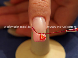 Nail art liner de color rojo-Glitter