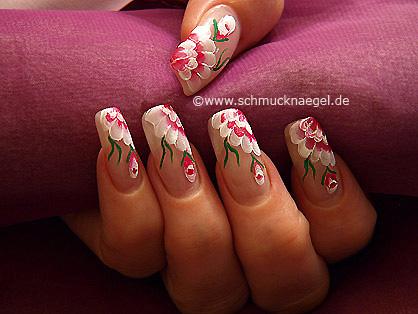 Motivo floral con pinturas acrílicas