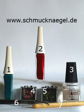 Productos para motivo con hojas secas y piedras strass - Esmalte, Nail art liner, Spot-Swirl, Piedras strass, Hojas secas