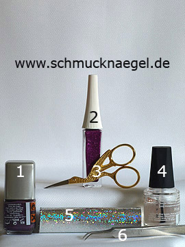 Productos para motivo con holograma y nail art liner en fucsia-glitter - Esmalte, Nail art liner, Holograma