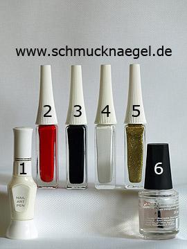 Productos para diseño de navidad con bota de San Nicolás - Esmalte, Nail art pen, Nail art liner