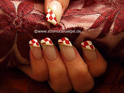 Motivo para carnaval con rombos en rojo y blanco