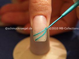 Nail art liner en turquesa