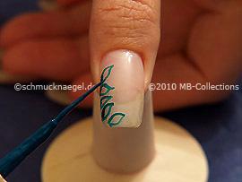 Nail art liner de color verde oscuro