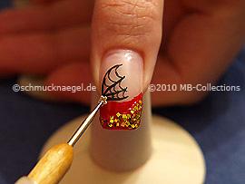 Spot-swirl y nail art flor