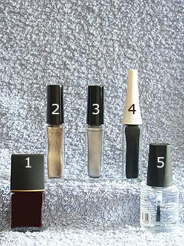 Productos para motivo de otoño en oro y plata - Esmalte, Nail art liner, Esmalte transparente