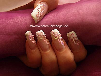 Decoración para uñas con hexágono en rosa