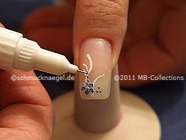 Nail art pen de azul gris