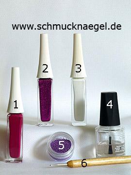 Productos para motivo 'Flores en manicura francesa con bouillons en lila' - Nail art liner, Nail art bouillons, Spot-Swirl