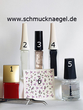 Productos para diseño 'Un corsé como motivo de uñas' - Esmalte, Nail art liner, Nail sticker