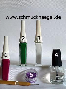 Productos para diseño floral con perlitas para uñas en lila - Nail art liner, Nail art bouillons, Spot-Swirl